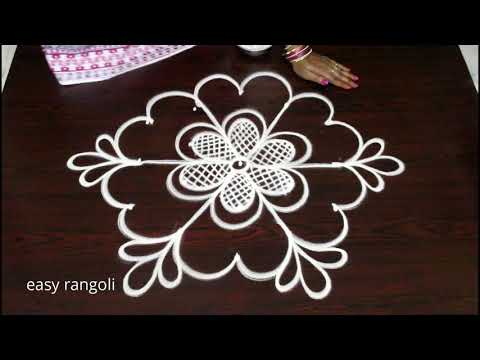Beautiful muggulu designs with 5 dots by easy rangoli Suneetha || new kolam designs