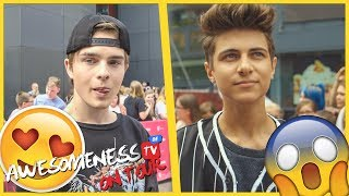 Lukas Rieger, Mike Singer & DeenisTJ auf dem Teppich der Videodays  | AwesomenessTV ON TOUR