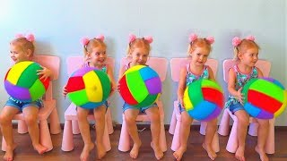 Five Little Babies Jumping on the Bed | Kids Song with Basketballs. Children Nursery Rhyme and Songs