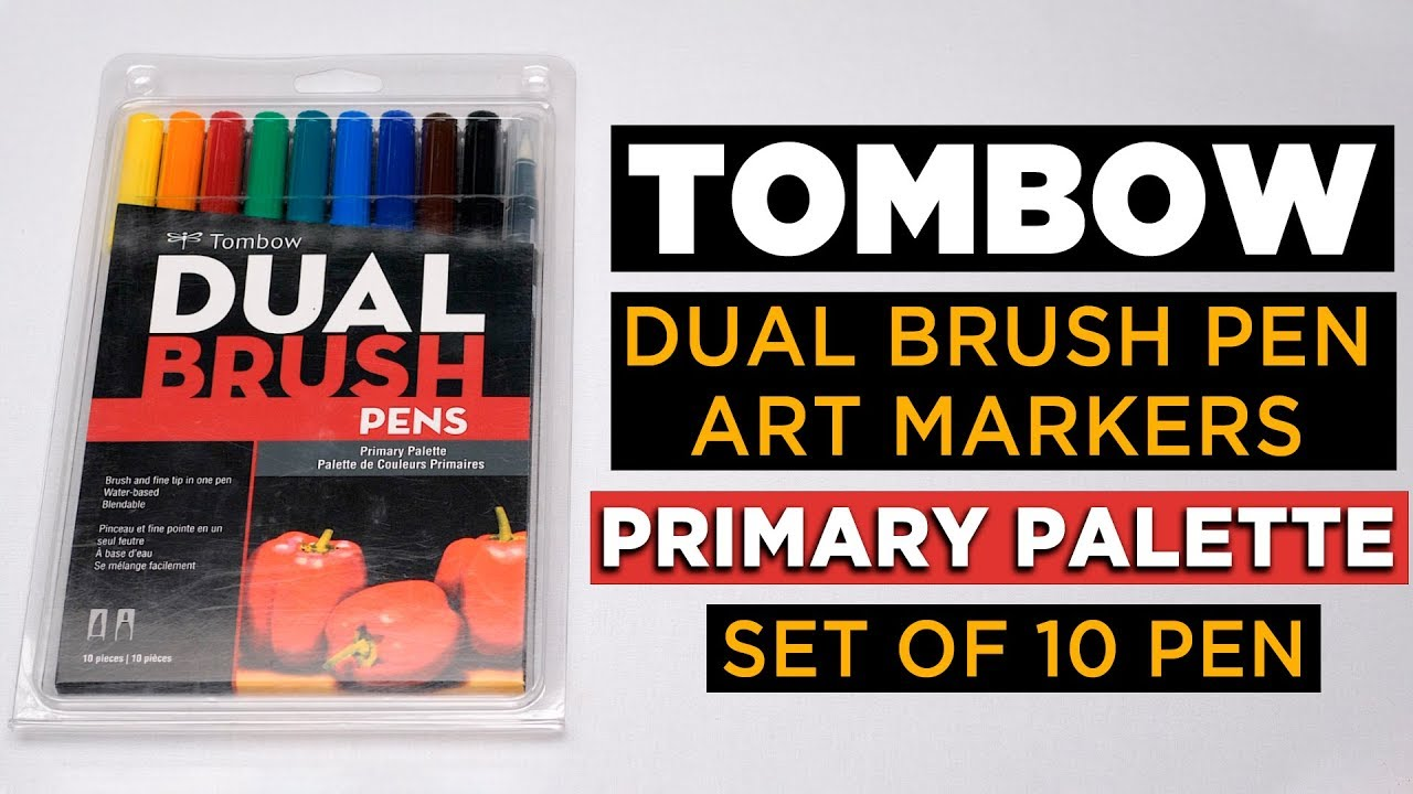 Tombow Dual Brush Pen Art Markers Primary Palette 10-Pack