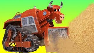 АнимаКары - Биллдозер спасает песочный замок от ЦУНАМИ - детские мультфильмы с машинами и животными