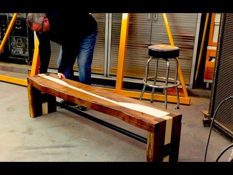 Handmade Walnut Bench - Welded + Bolted - Custom Furniture - Dallas, TX
