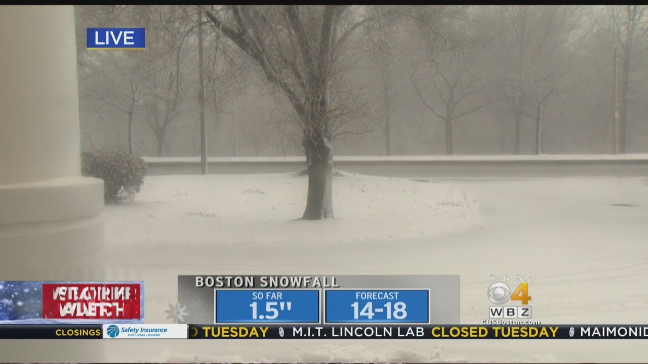 Visibility Slowly Reducing In Allston Outside WBZ-TV Studios