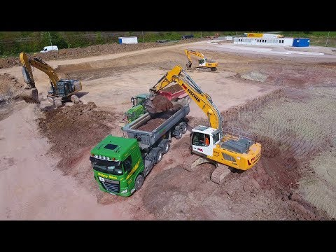 2x LIEBHERR R 926 & CAT 336E LN, Mass Excavation / Massenaushub, Korb, Germany, 12.04.2017.