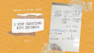Solving 2 Step Equations with Decimals | Explain it to Me, PDAC! #equations #decimals