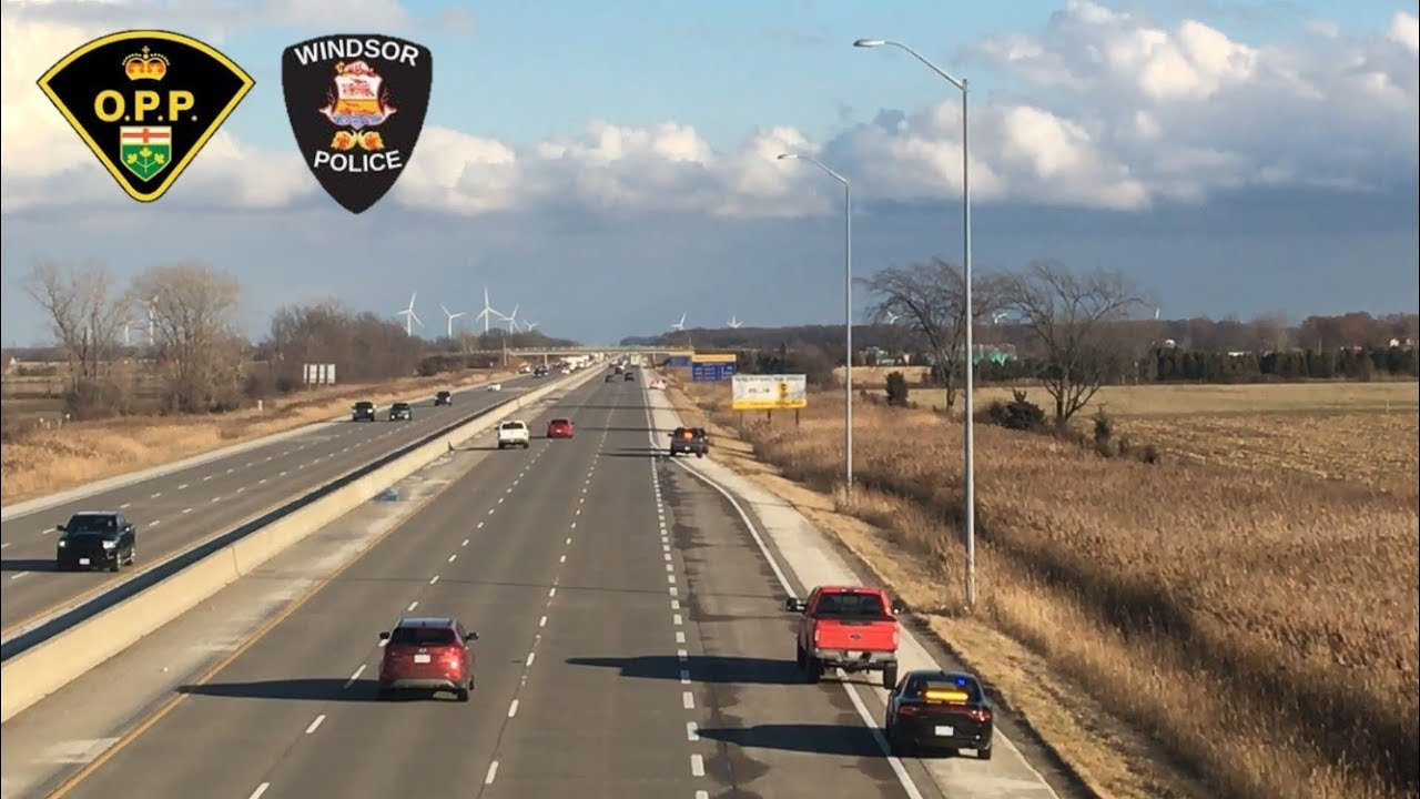 Traffic Enforcement on Hwy 401 Police catching Speeders - O P P  & Windsor  PS