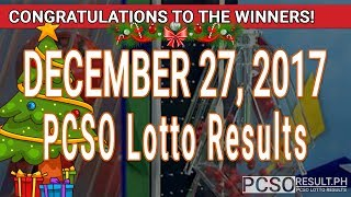 PCSO Lotto Results Today December 27, 2017 (6/55, 6/45, 4D, Swertres, STL & EZ2)