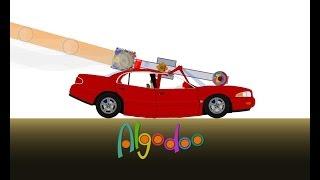 Algodoo/Phun: Missile Powered Car Goes Bad!