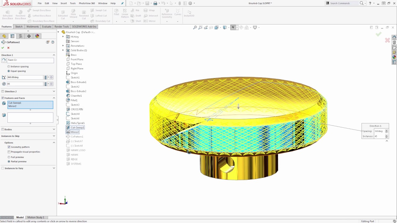 Knurling in SOLIDWORKS