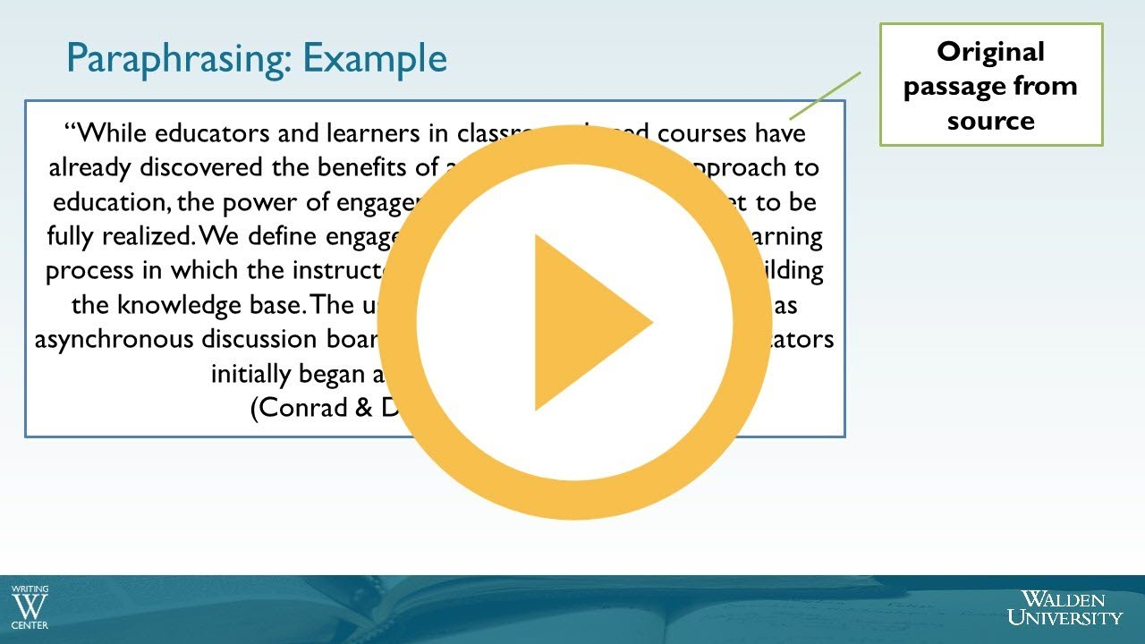 Example Of Paraphrasing Using Evidence Academic Guide At Walden University Career Option Paraphrase