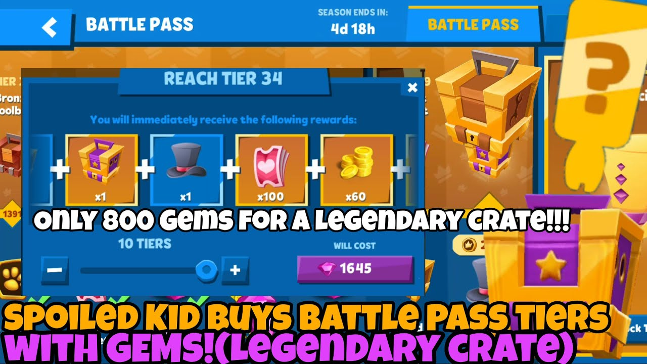 Zooba-Spoiled Kid Buys Battle Pass Tiers with GEMS! Legendary crate for only 800 Gems!