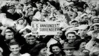HD Stock Footage WWII V-J Day Japanese Surrender Army-Navy Screen Magazine