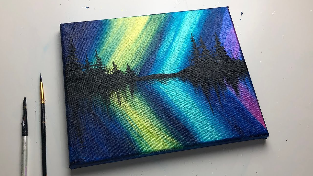 Acrylic Painting For Beginners Northern Lights Forest Reflection Acrylic Painting Ideas Youtube