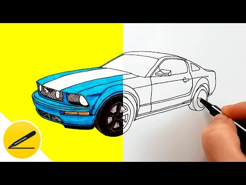 How to Draw a Car - Ford Mustang GT - step by step ★