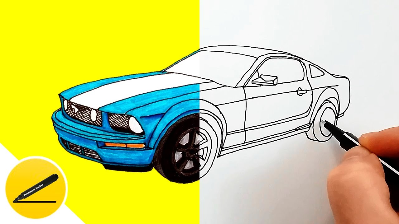 How To Draw A Car Ford Mustang Gt Step By Step Youtube