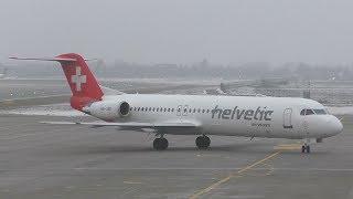 Helvetic Airways Fokker 100 landing at Graz Airport   HB-JVE