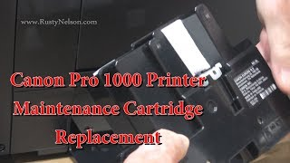 Canon Pro 1000 Printer Maintenance Cartridge Replacement Mc 20 And Firmware Update Youtube
