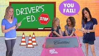 Addy and Maya Take Drivers Ed at Toy School !!! 🚗