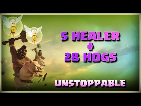 5 Healer + 28 Hogs= Unstoppable | Top 3 Star Attack | TH11 War Strategy #172 | COC 2018 |