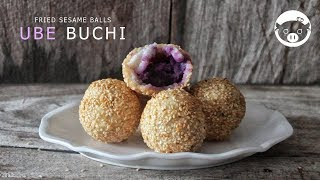 Ube Buchi  Filipino Fried Sesame Balls  Buchi with Ube Halaya Filling