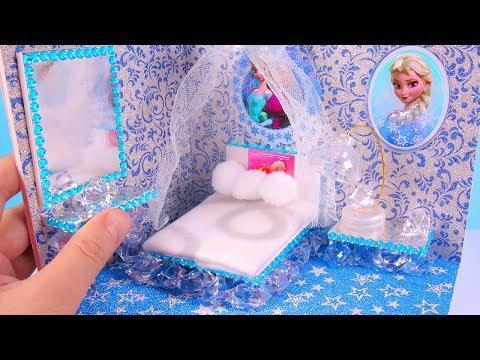 DIY Miniature FROZEN Bedroom ~ Dollhouse Room