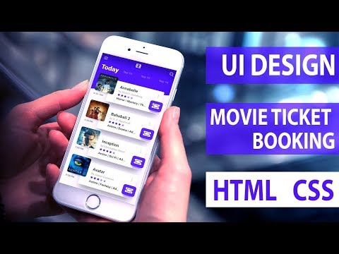 UI Design Tutorial - Movie Ticket Booking App | HTML CSS Speed Coding