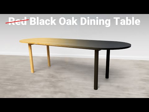 Black Finish on a Red Oak Dining Table with Turned Legs | Woodworking