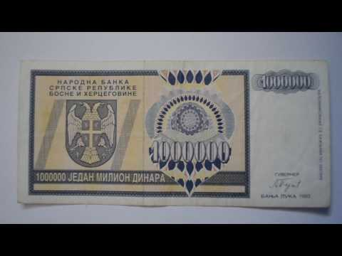 1000000 Serbian Dinar Banknote-One Million Serb Republic of Bosnia and Herzegovina Dinar 1993 bill