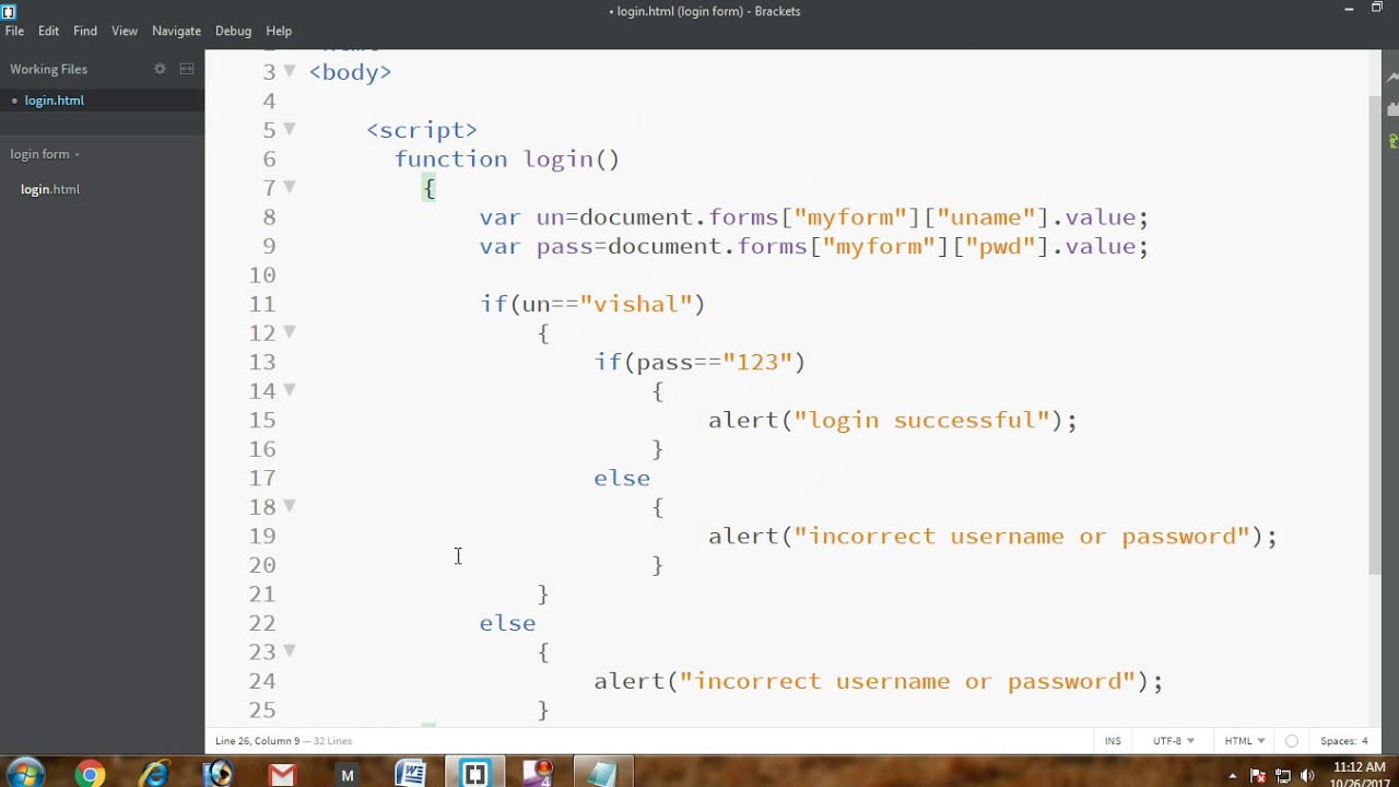 Simple Login Form Using JavaScript And HTML - YouTube