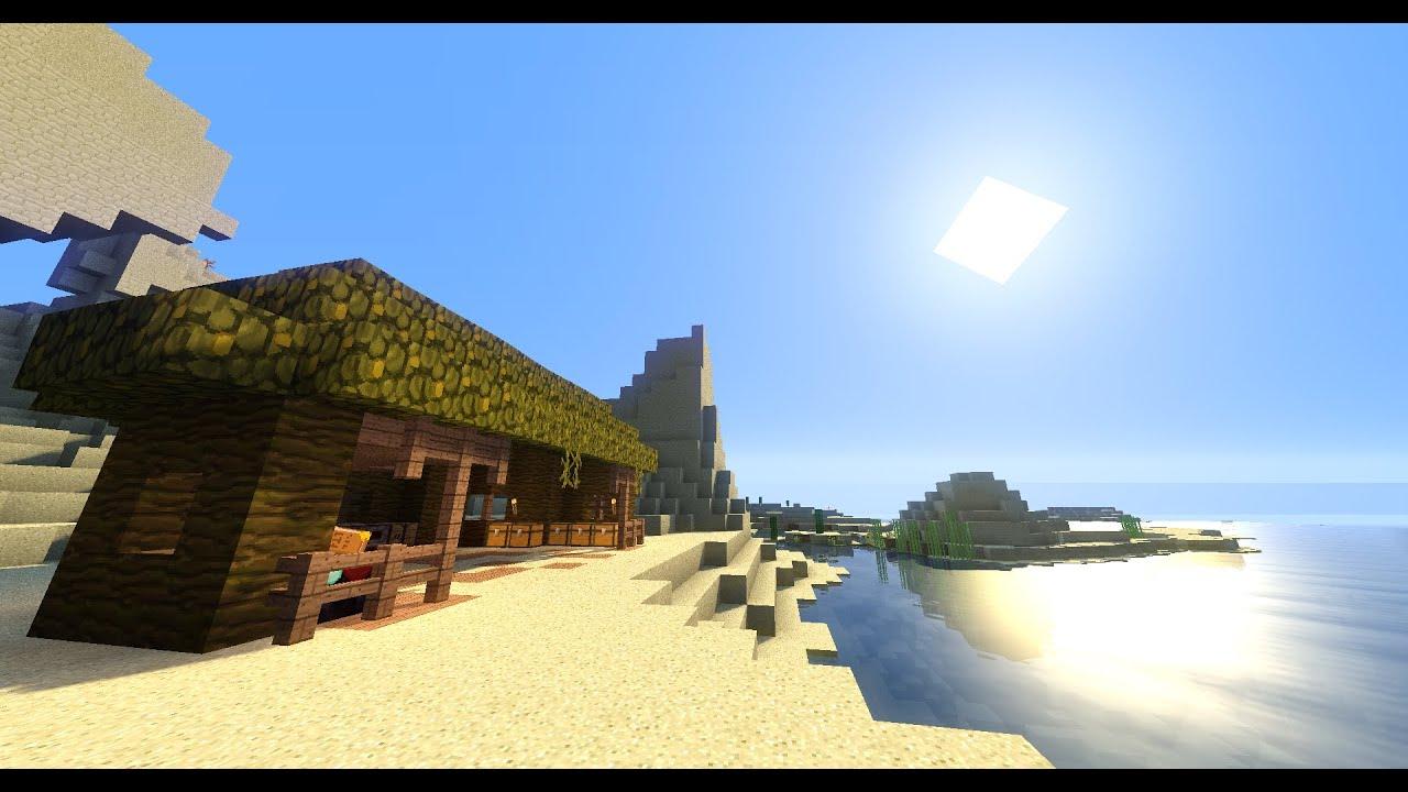 Minecraft tuto 2 belle cabane de plage youtube for Cabane de plage bois