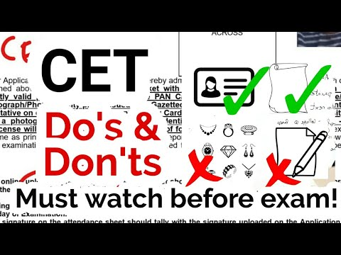 10 Dos and Don'ts on CET Exam Day. Official Instructions on Admit Card.