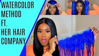 Get BLUE HAIR FAST AF !! - WATERCOLOR Method ft. Her Hair Company Eurasian Blonde Hair