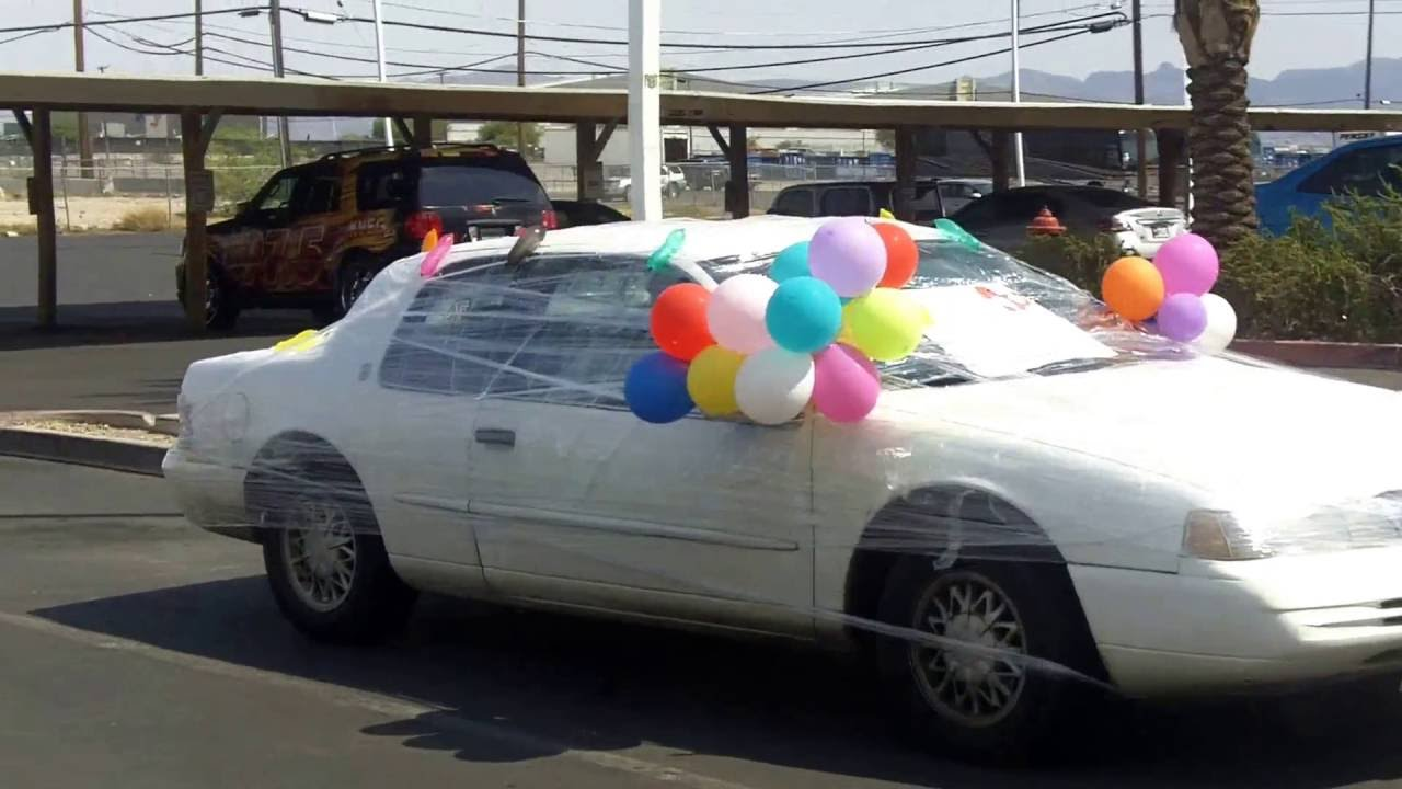 Saran Wrap Car: Plastic Wrap Car Prank 30th Birthday Surprise