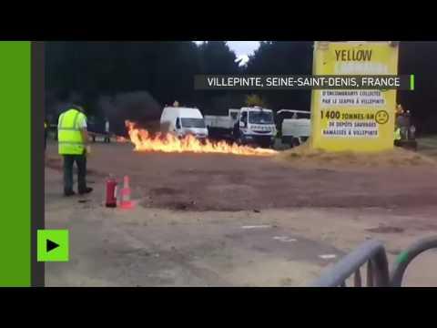 Le moment de l'explosion du bonhomme carnaval à Villepinte