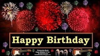 Rock Happy Birthday Song Fireworks Version Birthday Card - The Wolf Rock Band Happy Birthday To You