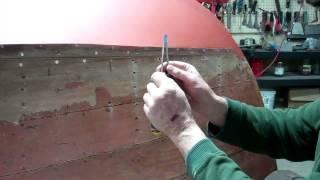 '46 Gar Wood Ensign Releasing Topside Planks   Filling Fastener Holes 1 14 2014