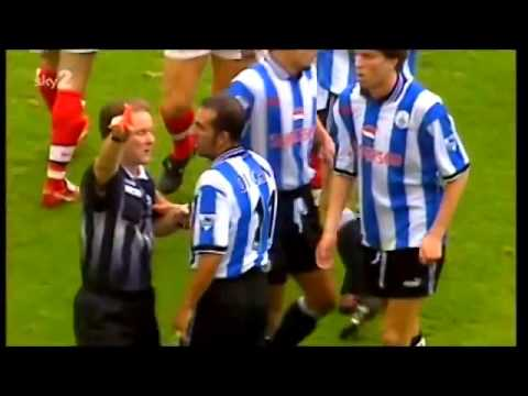 What does Di Canio do when he gets a red card?