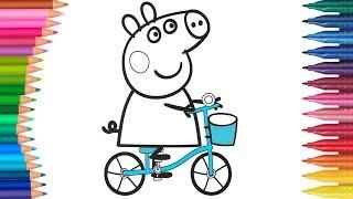 Peppa Pig - Świnka Peppa i rower | Małych Rączek Kolorowanka dla Dzieci
