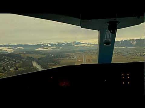 Dornier328 Amsterdam-Bern Landing in Bern-Belp Cockpit view -1080P-