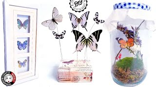 Butterfly Room Decor Wall Decoration Crafts Ideas, Spring Summer Diy Home Projects, Thrift Makeover