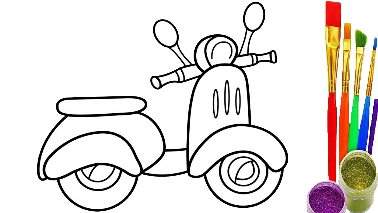 Scooter Drawing And Coloring