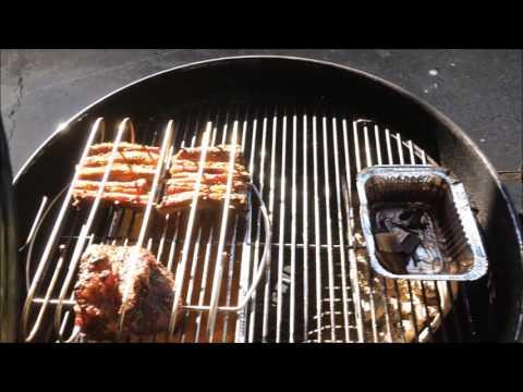 Weber BBQ smoked beef and lamb ribs