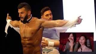 Repeat youtube video 여성전용 남성 스트립쇼 '치펜데일 쇼' 배우들을 본 여기자 반응(female reporters react to chippendales dancers