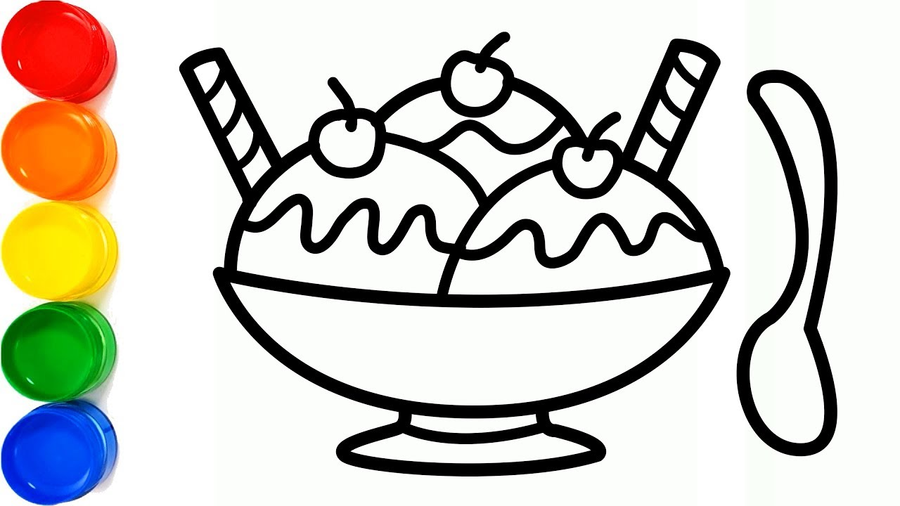 Drawing An Ice Cream Bowl With Waffle Cone And Coloring