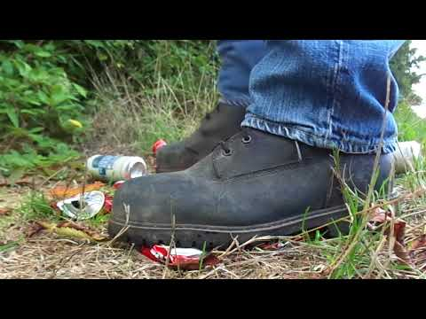 Timberland Pro Boots, stomp and crush empty beer cans