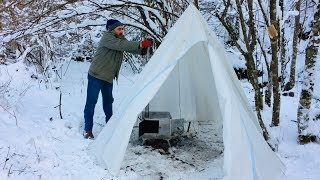 Kış kamp'ı ⛺️ Fırınlı sobamızda yemekler yapıyoruz. 3.Bölüm