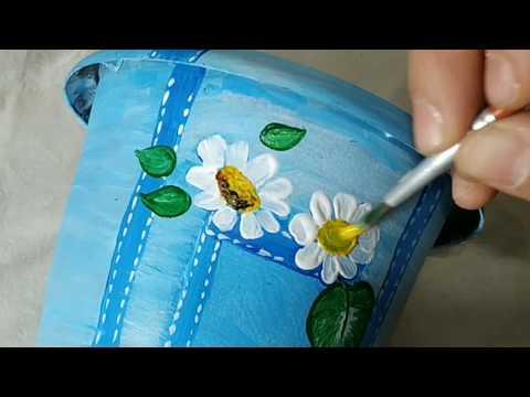 DIY Decoração com Vaso Simples de Plastico  -  Pintura Fácil Imitação de Jeans