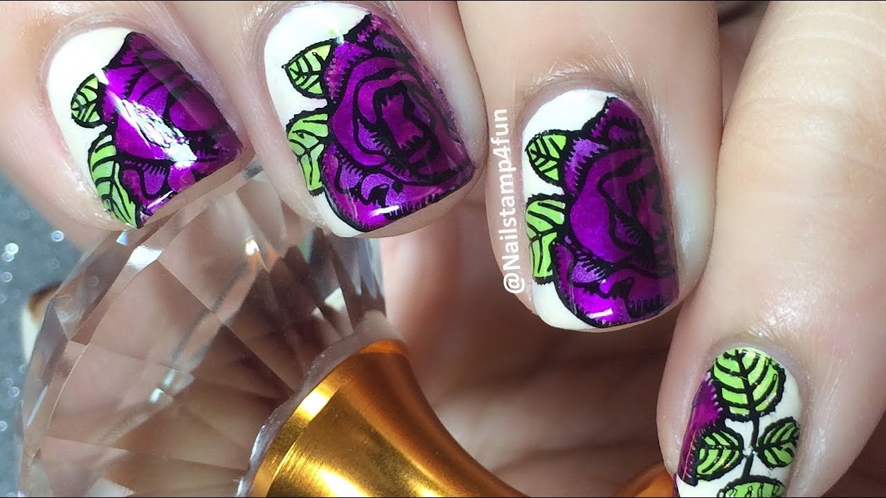 How To Floral Nail Art Advance Nail Stamping Youtube