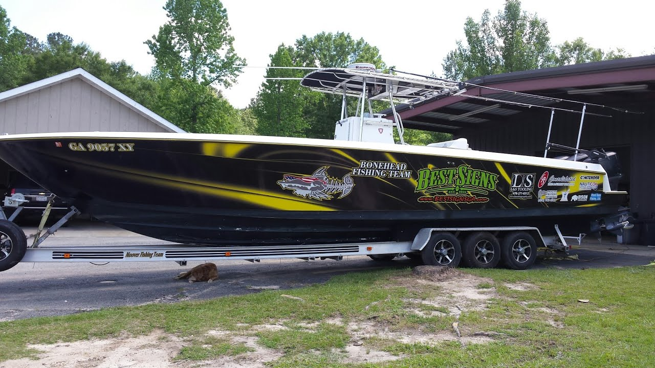 Bonehead fishing team boat wrap by best signs youtube for Fishing boat wraps