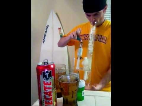2 bong rips & 2 12 oz tecate beer chug! In my sovereignty bong with medical marijuana.